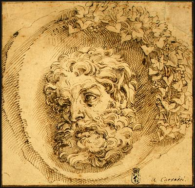 CARRACCI, Agostino Head of a Faun in a Concave (roundel) dsf oil painting image